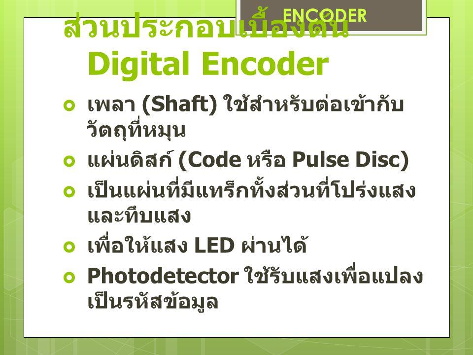 ส่วนประกอบเบื้องต้น Digital Encoder  เพลา (Shaft) ใช้สำหรับต่อเข้ากับ วัตถุที่หมุน  แผ่นดิสก์ (Code หรือ Pulse Disc)  เป็นแผ่นที่มีแทร็กทั้งส่วนที่โปร่งแสง และทึบแสง  เพื่อให้แสง LED ผ่านได้  Photodetector ใช้รับแสงเพื่อแปลง เป็นรหัสข้อมูล ENCODER