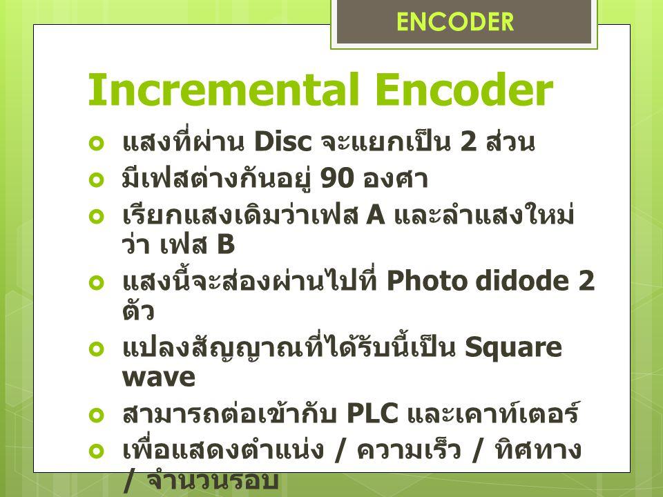 Incremental Encoder  แสงที่ผ่าน Disc จะแยกเป็น 2 ส่วน  มีเฟสต่างกันอยู่ 90 องศา  เรียกแสงเดิมว่าเฟส A และลำแสงใหม่ ว่า เฟส B  แสงนี้จะส่องผ่านไปที