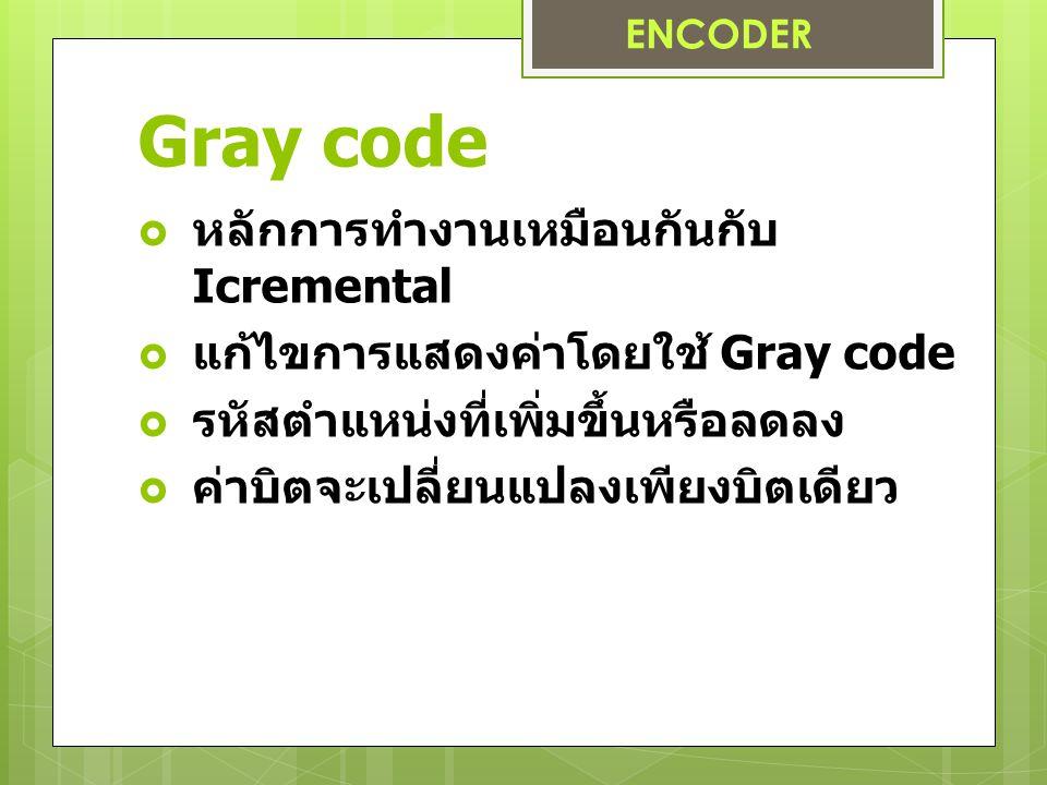 Gray code  หลักการทำงานเหมือนกันกับ Icremental  แก้ไขการแสดงค่าโดยใช้ Gray code  รหัสตำแหน่งที่เพิ่มขึ้นหรือลดลง  ค่าบิตจะเปลี่ยนแปลงเพียงบิตเดียว ENCODER