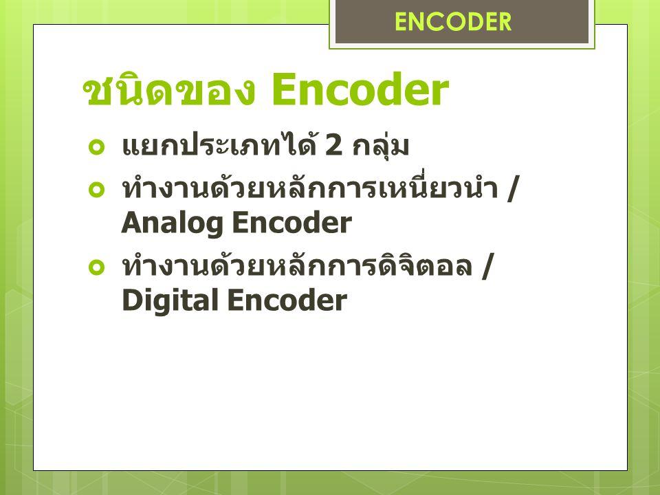 ชนิดของ Encoder  แยกประเภทได้ 2 กลุ่ม  ทำงานด้วยหลักการเหนี่ยวนำ / Analog Encoder  ทำงานด้วยหลักการดิจิตอล / Digital Encoder ENCODER