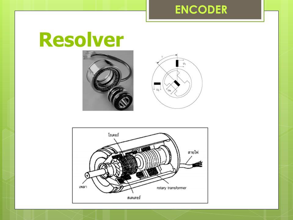 โครงสร้าง / การทำงาน ของ Resolver  ลักษณะคล้ายกับมีหม้อแปลง 2 ชุด  ชุดแรกรับสัญญาณอ้างอิง ความถี่สูง ย่าน 2 – 10 kHz  เพื่อสร้างแรงเคลื่อนเหนี่ยวนำให้  เกิดกระแสไหลไปสร้างสนามแม่เหล็ก ให้กับขดลวดชุดที่สอง  มีขดลวดปฐมภูมิที่ติดกับโรเตอร์ 1 ชุด  มีขดลวดทุติยภูมิ 2 ชุด วางทำมุมกัน 90 องศา  เรียกว่า ขดลวด sine และ cosine ENCODER