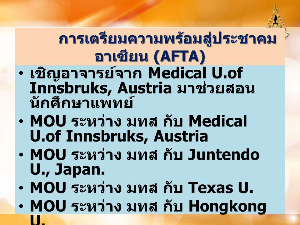 การเตรียมความพร้อมสู่ประชาคม อาเซียน (AFTA) การเตรียมความพร้อมสู่ประชาคม อาเซียน (AFTA) เชิญอาจารย์จาก Medical U.of Innsbruks, Austria มาช่วยสอน นักศึ