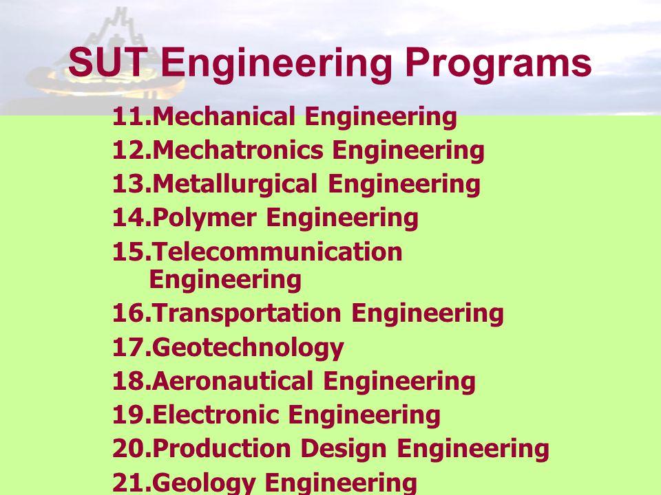 SUT Engineering Programs 11.Mechanical Engineering 12.Mechatronics Engineering 13.Metallurgical Engineering 14.Polymer Engineering 15.Telecommunicatio