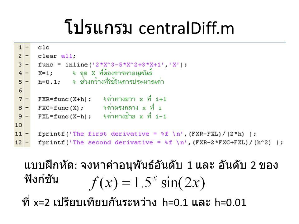 โปรแกรม centralDiff.m แบบฝึกหัด : จงหาค่าอนุพันธ์อันดับ 1 และ อันดับ 2 ของ ฟังก์ชัน ที่ x=2 เปรียบเทียบกันระหว่าง h=0.1 และ h=0.01