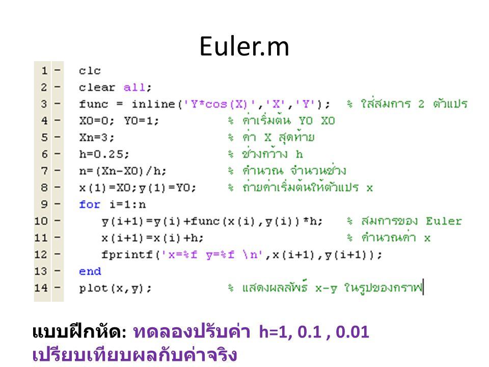 Euler.m แบบฝีกหัด : ทดลองปรับค่า h=1, 0.1, 0.01 เปรียบเทียบผลกับค่าจริง