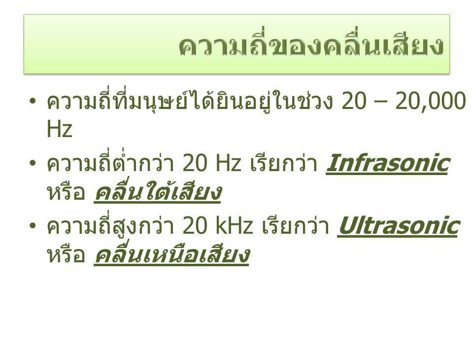 ความถี่ที่มนุษย์ได้ยินอยู่ในช่วง 20 – 20,000 Hz ความถี่ต่ำกว่า 20 Hz เรียกว่า Infrasonic หรือ คลื่นใต้เสียง ความถี่สูงกว่า 20 kHz เรียกว่า Ultrasonic หรือ คลื่นเหนือเสียง