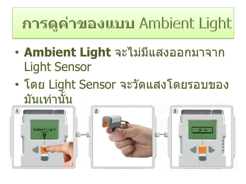 Ambient Light จะไม่มีแสงออกมาจาก Light Sensor โดย Light Sensor จะวัดแสงโดยรอบของ มันเท่านั้น สามารถนำมาใช้ตรวจสอบความสว่างและ ความมืดของห้องได้