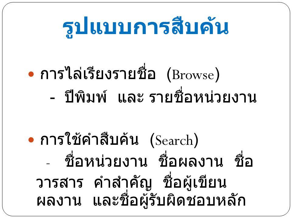 รูปแบบการสืบค้น การไล่เรียงรายชื่อ (Browse) - ปีพิมพ์ และ รายชื่อหน่วยงาน การใช้คำสืบค้น (Search) - ชื่อหน่วยงาน ชื่อผลงาน ชื่อ วารสาร คำสำคัญ ชื่อผู้