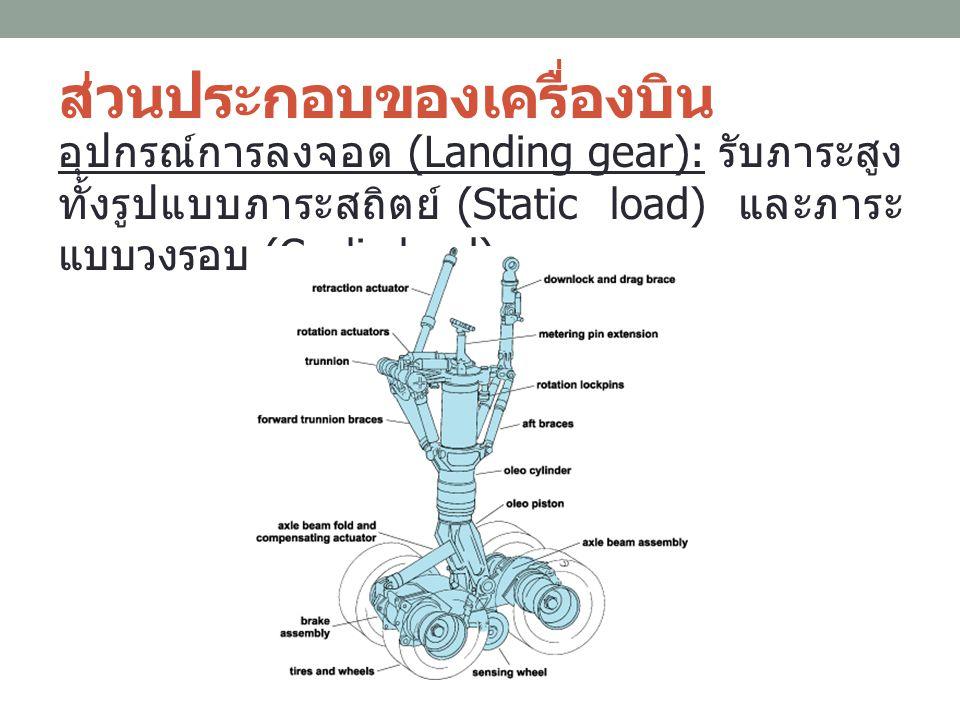 ส่วนประกอบของเครื่องบิน อุปกรณ์การลงจอด (Landing gear): รับภาระสูง ทั้งรูปแบบภาระสถิตย์ (Static load) และภาระ แบบวงรอบ (Cyclic load)