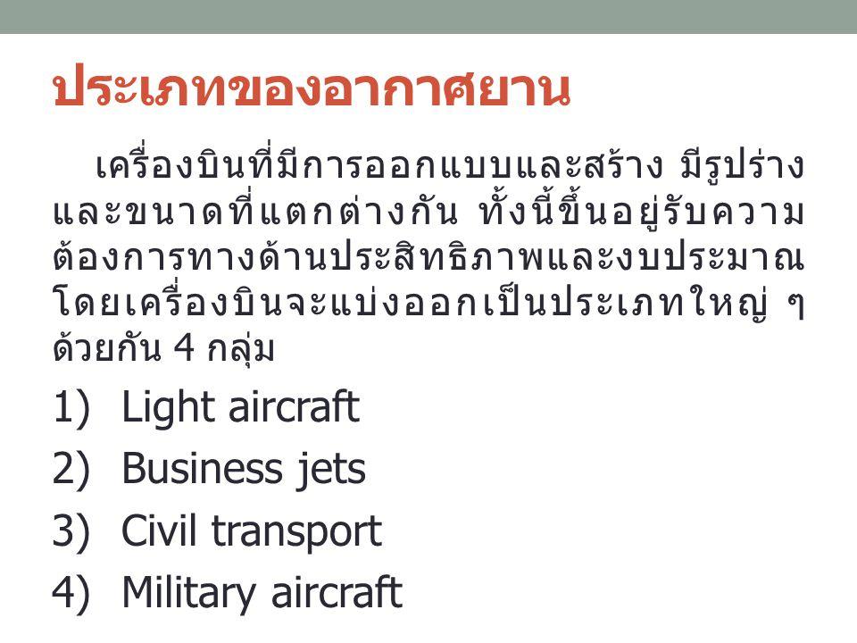 ประเภทของอากาศยาน เครื่องบินที่มีการออกแบบและสร้าง มีรูปร่าง และขนาดที่แตกต่างกัน ทั้งนี้ขึ้นอยู่รับความ ต้องการทางด้านประสิทธิภาพและงบประมาณ โดยเครื่