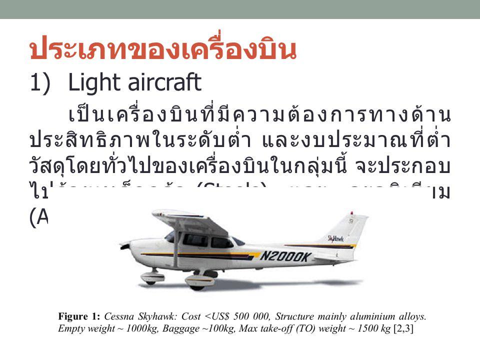 ประเภทของเครื่องบิน 1)Light aircraft เป็นเครื่องบินที่มีความต้องการทางด้าน ประสิทธิภาพในระดับต่ำ และงบประมาณที่ต่ำ วัสดุโดยทั่วไปของเครื่องบินในกลุ่มน