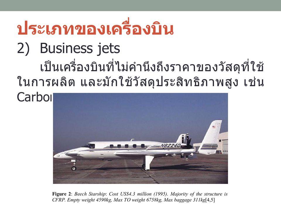 ประเภทของเครื่องบิน 2)Business jets เป็นเครื่องบินที่ไม่คำนึงถึงราคาของวัสดุที่ใช้ ในการผลิต และมักใช้วัสดุประสิทธิภาพสูง เช่น Carbon-fiber composites