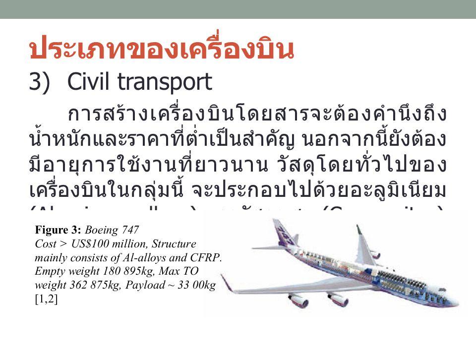 ประเภทของเครื่องบิน 3)Civil transport การสร้างเครื่องบินโดยสารจะต้องคำนึงถึง น้ำหนักและราคาที่ต่ำเป็นสำคัญ นอกจากนี้ยังต้อง มีอายุการใช้งานที่ยาวนาน ว