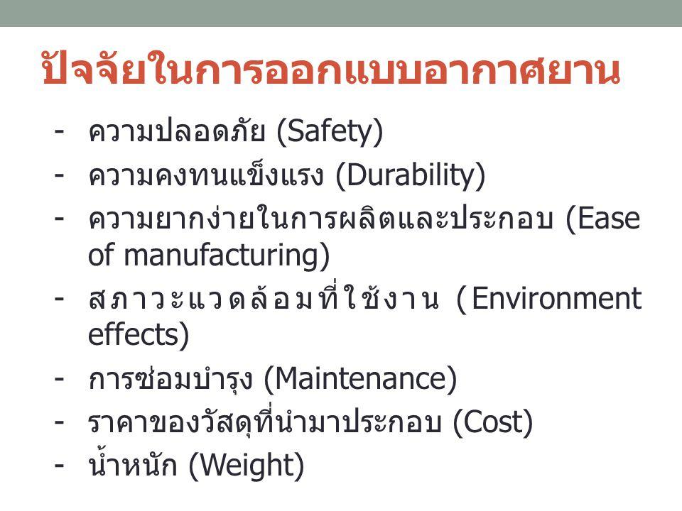 ปัจจัยในการออกแบบอากาศยาน - ความปลอดภัย (Safety) - ความคงทนแข็งแรง (Durability) - ความยากง่ายในการผลิตและประกอบ (Ease of manufacturing) - สภาวะแวดล้อม