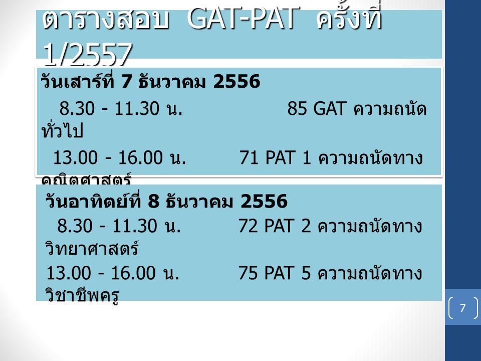 ตารางสอบ GAT-PAT ครั้งที่ 1/2557 ( ต่อ ) 8 วันจันทร์ที่ 9 ธันวาคม 2556 8.30 - 11.30 น.