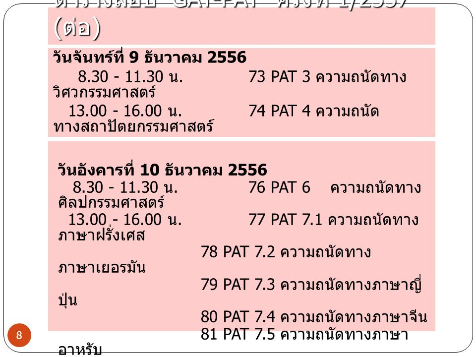 ตารางสอบ GAT-PAT ครั้งที่ 1/2557 ( ต่อ ) 8 วันจันทร์ที่ 9 ธันวาคม 2556 8.30 - 11.30 น. 73 PAT 3 ความถนัดทาง วิศวกรรมศาสตร์ 13.00 - 16.00 น. 74 PAT 4 ค