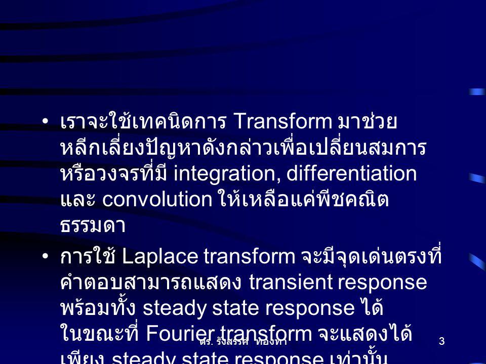 ดร. รังสรรค์ ทองทา 3 เราจะใช้เทคนิดการ Transform มาช่วย หลีกเลี่ยงปัญหาดังกล่าวเพื่อเปลี่ยนสมการ หรือวงจรที่มี integration, differentiation และ convol