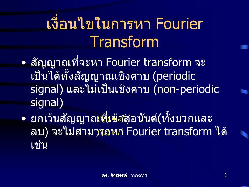 ดร. รังสรรค์ ทองทา 3 เงื่อนไขในการหา Fourier Transform สัญญาณที่จะหา Fourier transform จะ เป็นได้ทั้งสัญญาณเชิงคาบ (periodic signal) และไม่เป็นเชิงคาบ
