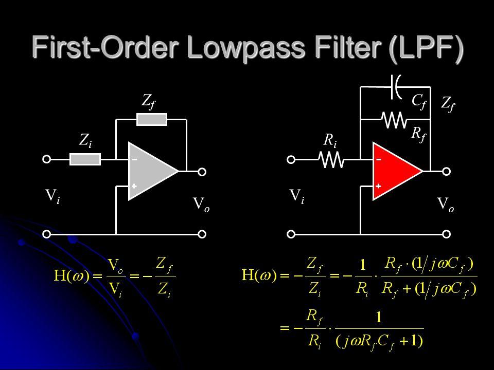 First-Order Lowpass Filter (LPF) RiRi ZfZf ViVi VoVo RfRf CfCf ZiZi ZfZf ViVi VoVo
