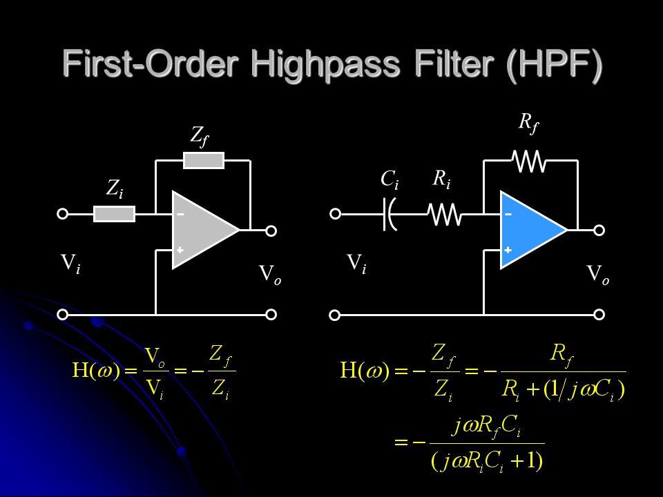 First-Order Highpass Filter (HPF) ZfZf ZiZi ViVi VoVo RiRi ViVi VoVo RfRf CiCi