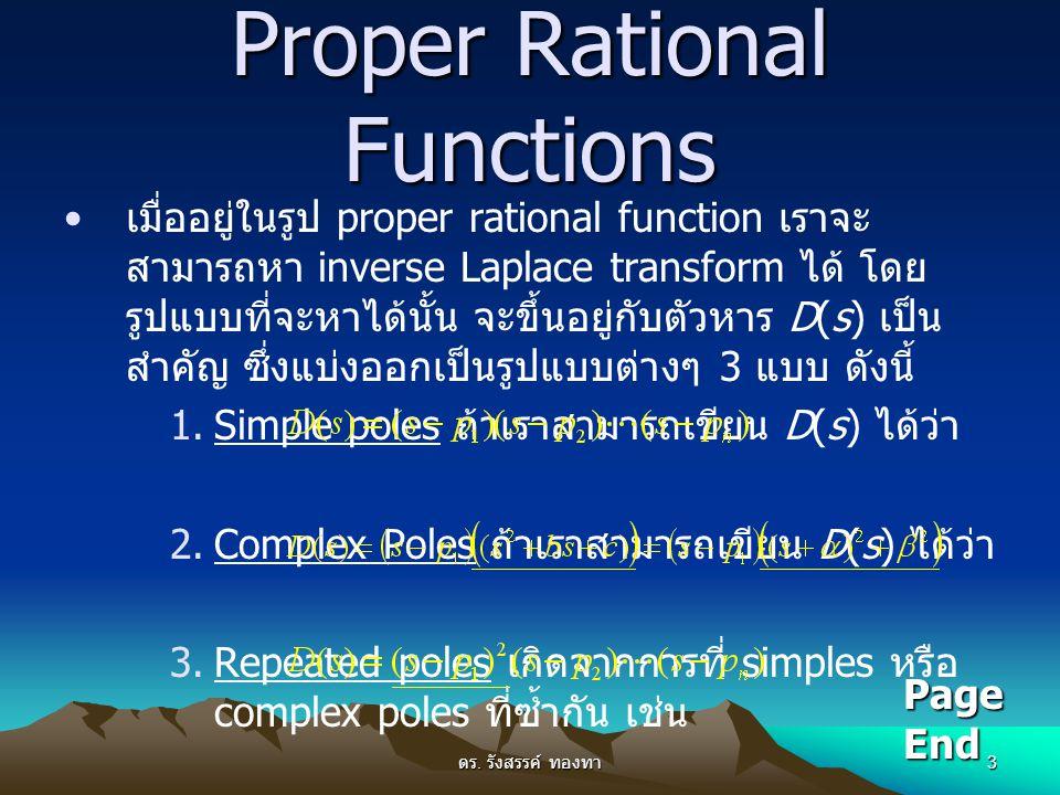 ดร. รังสรรค์ ทองทา 3 Proper Rational Functions เมื่ออยู่ในรูป proper rational function เราจะ สามารถหา inverse Laplace transform ได้ โดย รูปแบบที่จะหาไ