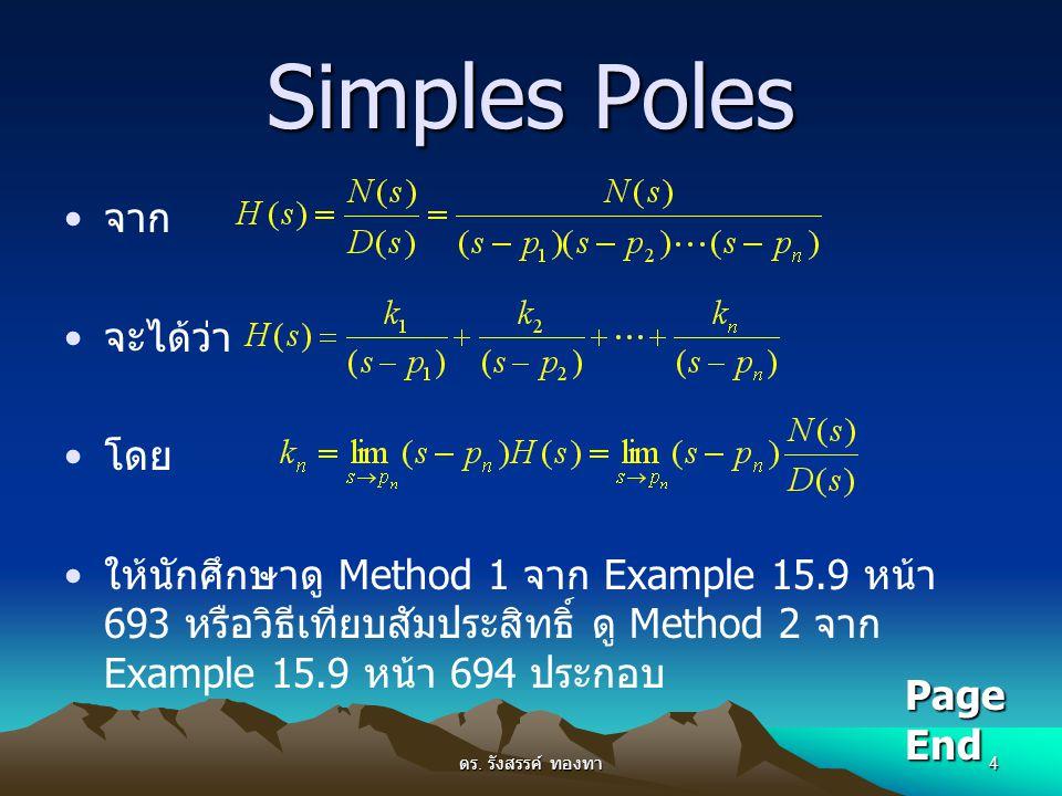 ดร. รังสรรค์ ทองทา 4 Simples Poles จาก จะได้ว่า โดย ให้นักศึกษาดู Method 1 จาก Example 15.9 หน้า 693 หรือวิธีเทียบสัมประสิทธิ์ ดู Method 2 จาก Example
