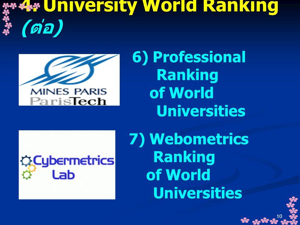 10 4. University World Ranking ( ต่อ ) 6) Professional Ranking of World Universities 7) Webometrics Ranking of World Universities