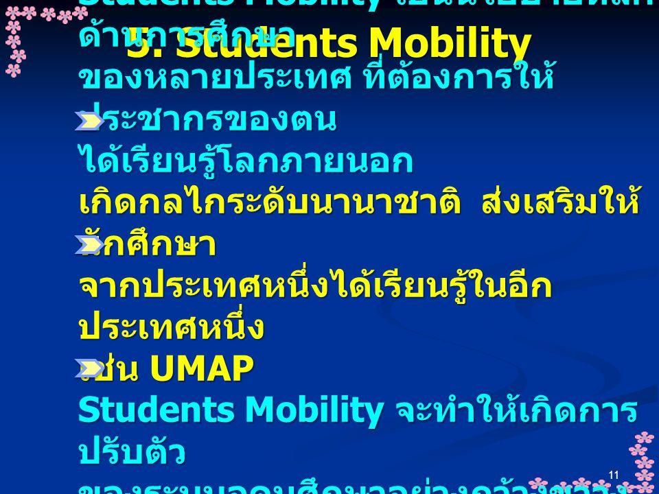 11 5. Students Mobility Students Mobility เป็นนโยบายหลัก ด้านการศึกษา ของหลายประเทศ ที่ต้องการให้ ประชากรของตน ได้เรียนรู้โลกภายนอก เกิดกลไกระดับนานาช