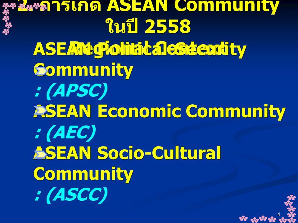 4 2. การเกิด ASEAN Community ในปี 2558 Regional Context ASEAN Political-Security Community : (APSC) ASEAN Economic Community : (AEC) ASEAN Socio-Cultu