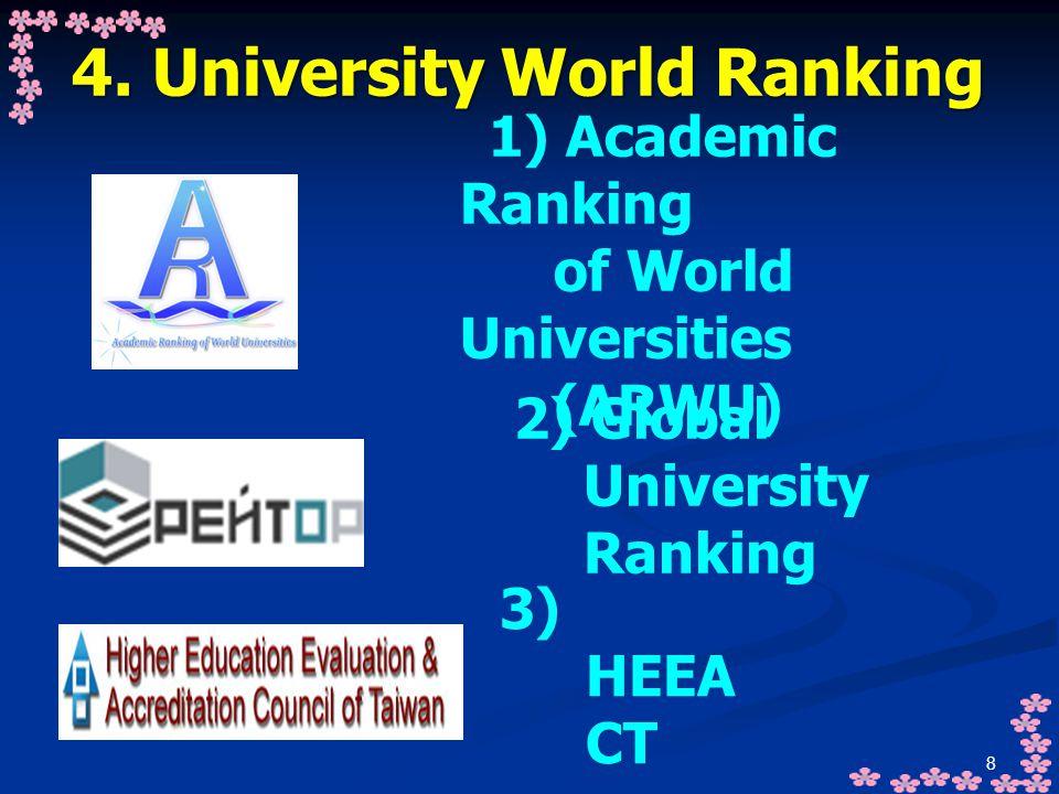 8 4. University World Ranking 1) Academic Ranking of World Universities (ARWU) 2) Global University Ranking 3) HEEA CT