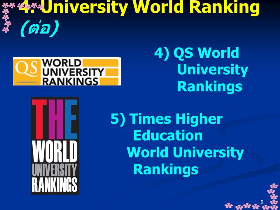 9 4. University World Ranking ( ต่อ ) 4) QS World University Rankings 5) Times Higher Education World University Rankings