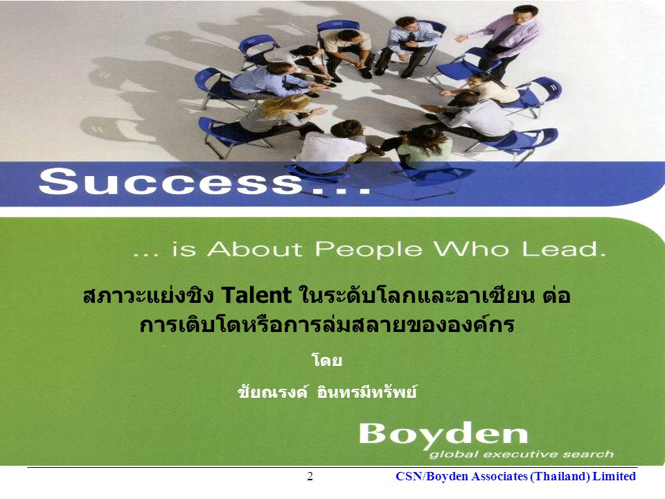 Your Local Partner Worldwide global executive search Your Local Partner Worldwide global executive search CSN/Boyden Associates (Thailand) Limited2 สภ