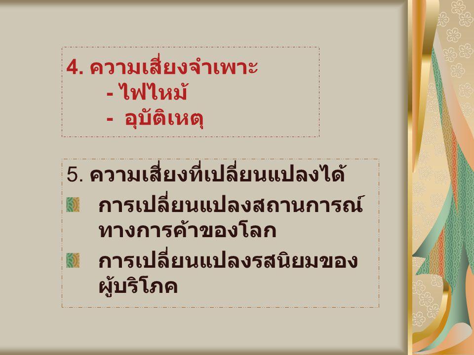 4.ความเสี่ยงจำเพาะ - ไฟไหม้ - อุบัติเหตุ 5.