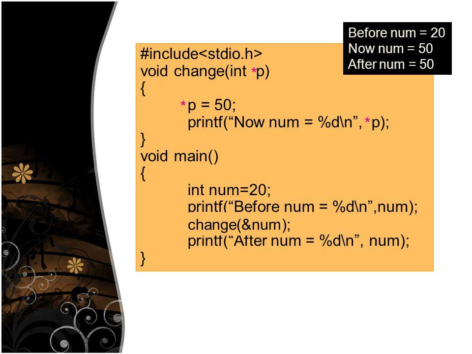 #include int num1, num2; void input() { printf( \n Input number1 : ); scanf( %d ,&num1); printf( \n Input number2 : ); scanf( %d ,&num2); } void main() { input(num1,num2); printf( %d %d , num1,num2); } Input number1 : 15 Input number2 : 30 15 30