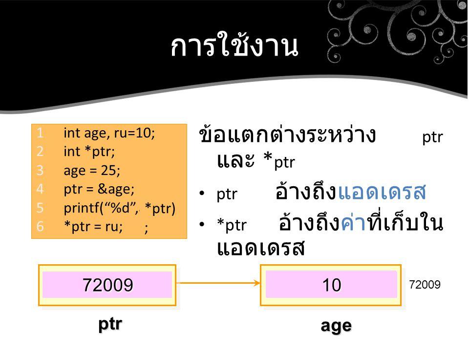การใช้งาน ข้อแตกต่างระหว่าง ptr และ * ptr ptr อ้างถึงแอดเดรส *ptr อ้างถึงค่าที่เก็บใน แอดเดรส 1int age, ru=10; 2int *ptr; 3age = 25; 4ptr = &age; 5pri