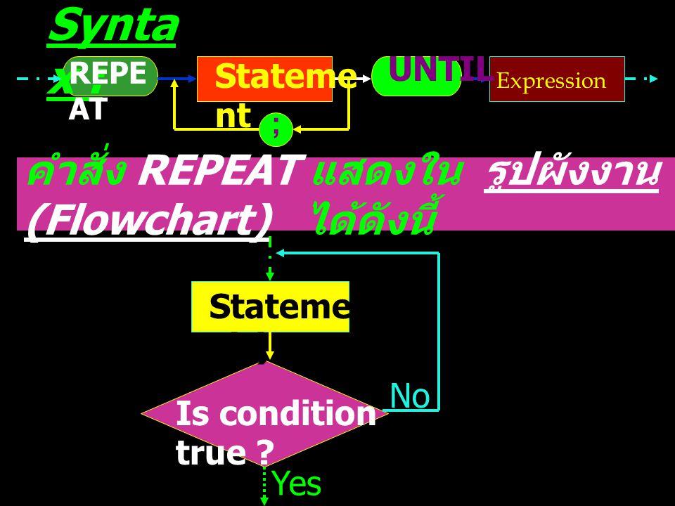 3. คำสั่ง REPEAT เป็นคำสั่งให้ทำซ้ำหรือวนรอบ เมื่อ เงื่อนไขไม่สอดคล้องหรือ เงื่อนไขเป็นเท็จ จะทำงานใน ขอบข่าย ( คำสั่ง หรือกลุ่มของคำสั่ง ) ที่กำหนด แ