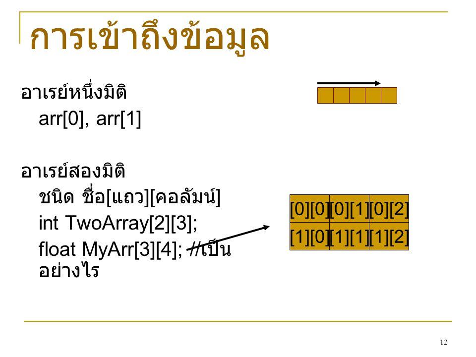 12 อาเรย์หนึ่งมิติ arr[0], arr[1] อาเรย์สองมิติ ชนิด ชื่อ [ แถว ][ คอลัมน์ ] int TwoArray[2][3]; float MyArr[3][4]; // เป็น อย่างไร การเข้าถึงข้อมูล [