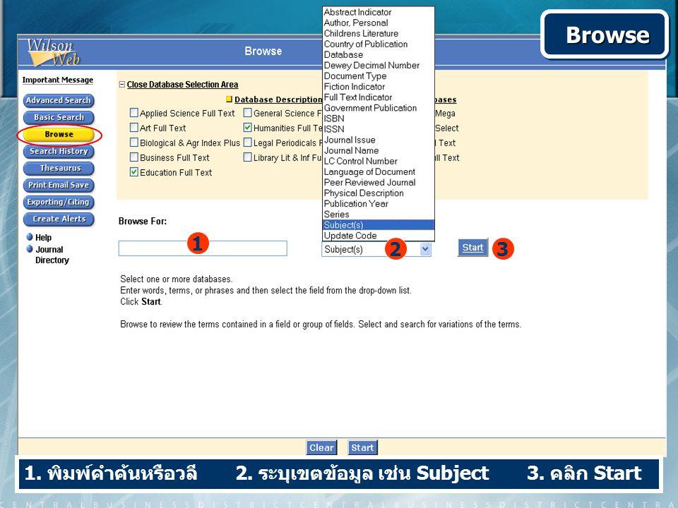 1. พิมพ์คำค้นหรือวลี 2. ระบุเขตข้อมูล เช่น Subject 3. คลิก Start 1 3 Browse Browse 2