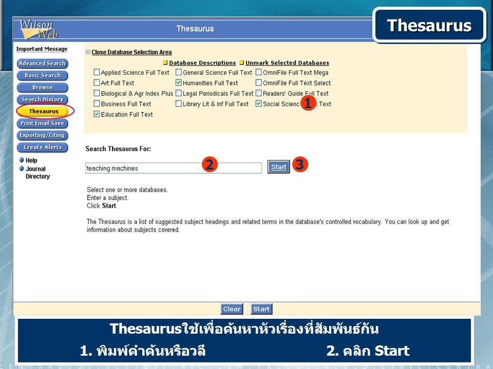 Thesaurusใช้เพื่อค้นหาหัวเรื่องที่สัมพันธ์กัน 1. พิมพ์คำค้นหรือวลี 2.