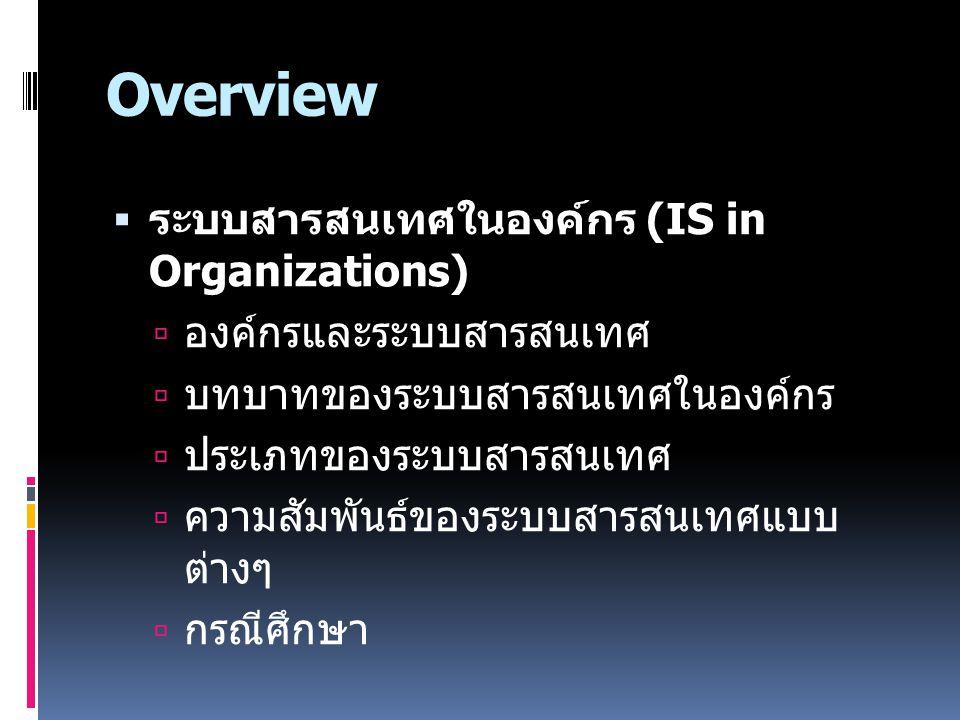 Overview  ระบบสารสนเทศในองค์กร (IS in Organizations)  องค์กรและระบบสารสนเทศ  บทบาทของระบบสารสนเทศในองค์กร  ประเภทของระบบสารสนเทศ  ความสัมพันธ์ของ