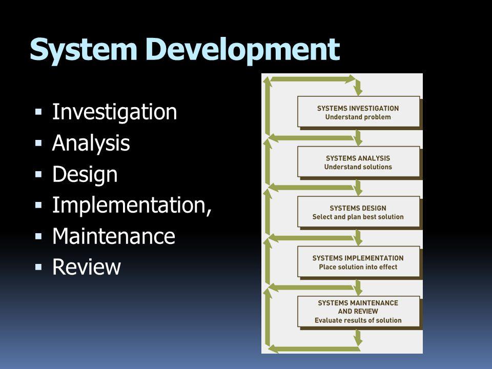 System Development  Investigation  Analysis  Design  Implementation,  Maintenance  Review