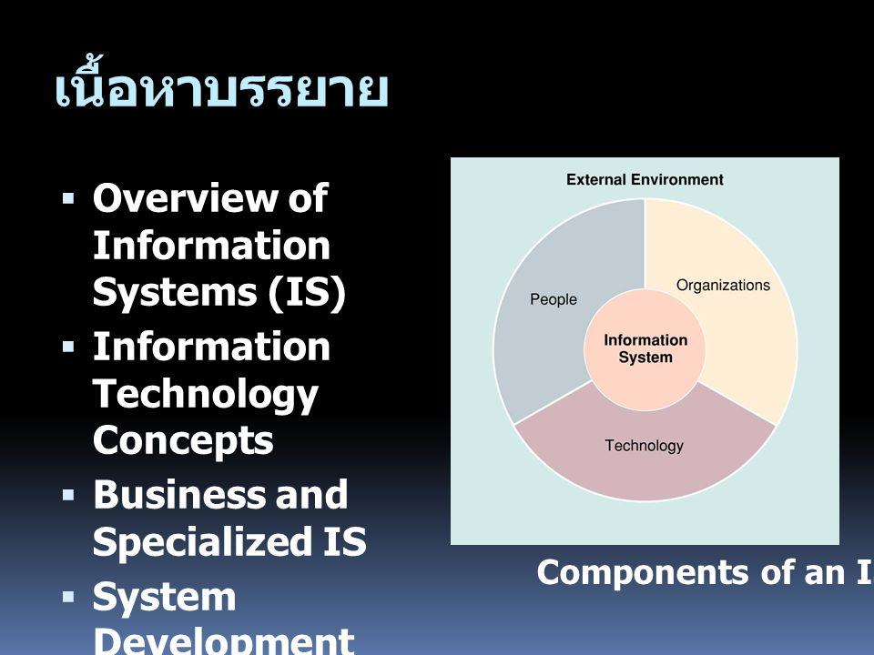 Overview  แนวคิดเกี่ยวกับระบบสารสนเทศ (Information Systems: IS)  ข้อมูล สารสนเทศ และความรู้  ระบบและระบบสารสนเทศ  วัตถุประสงค์และประโยชน์ของระบบ สารสนเทศ  องค์ประกอบของระบบสารสนเทศ คอมพิวเตอร์ Computer-based Information Systems (CBIS)