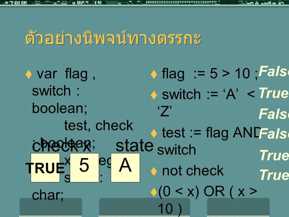 ตัวอย่างนิพจน์ทางตรรกะ  var flag, switch : boolean; test, check : boolean; x : integer ; state : char;  flag := 5 > 10 ;  switch := 'A' < 'Z'  test := flag AND switch  not check  (0 10 )  state <> 'W' False True 5 x A state TRUE check