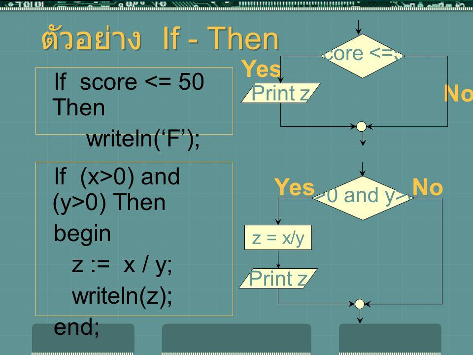 ตัวอย่าง If - Then If score <= 50 Then writeln('F'); If (x>0) and (y>0) Then begin z := x / y; writeln(z); end; x>0 and y>0 YesNo z = x/y Print F Print z Score <=50 Yes No Print F Print z