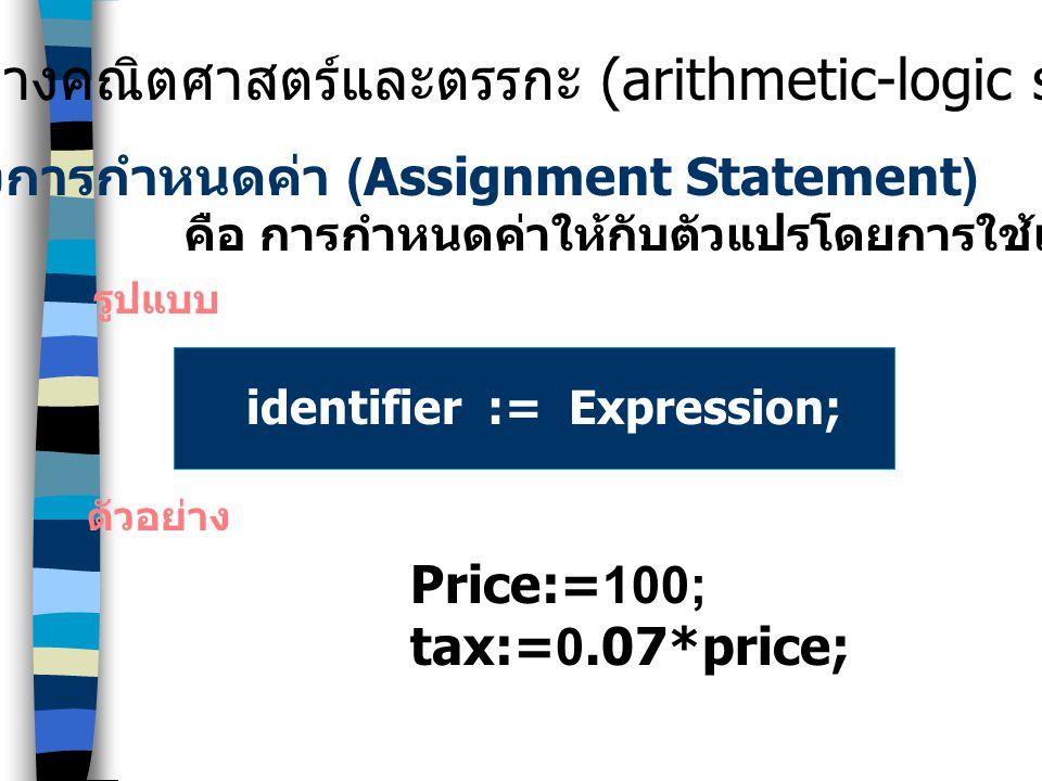 คำสั่งพื้นฐานในการเขียน โปรแกรม คำสั่งทางคณิตศาสตร์และตรรกะ (arithmetic-logic statement) คำสั่งรับข้อมูลและแสดงผล (input/output statement) คำสั่งเลือก