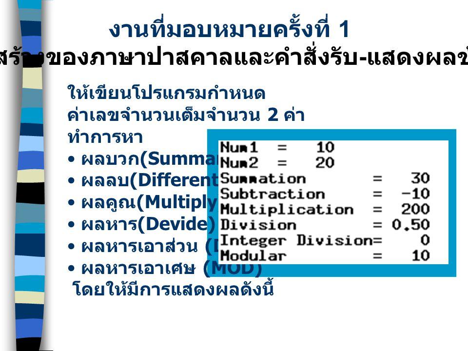 ประโยคคำสั่งปฏิบัติการ (Executable Statements) ข้อแตกต่างระหว่างคำสั่ง write และ writeln ตัวอย่าง num1:=10;num2:=20; sum:=num1+num2; Write(num1,' + ',