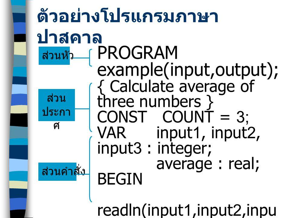 PROGRAM ชื่อโปรแกรม ; VAR LABEL CONST TYPE PROCEDURE or FUNCTION BEGIN END. Heading Declarations Statements โครงสร้างของภาษาปาสคาล ….
