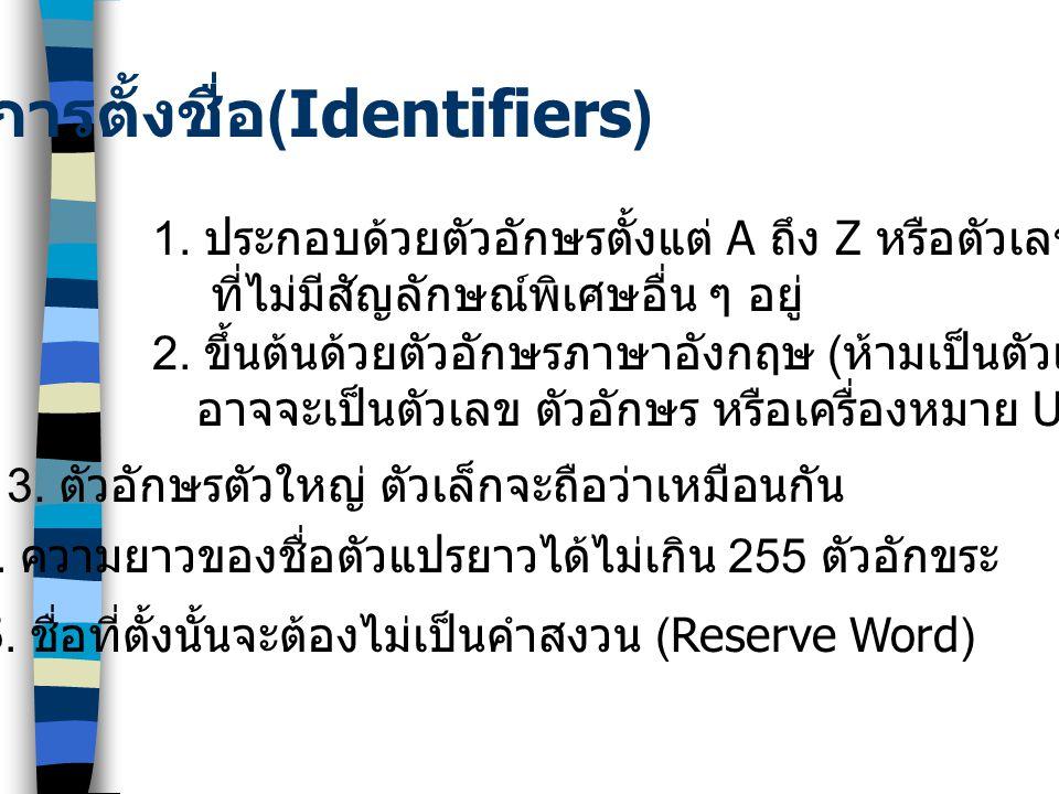 การตั้งชื่อ (Identifiers) 1.