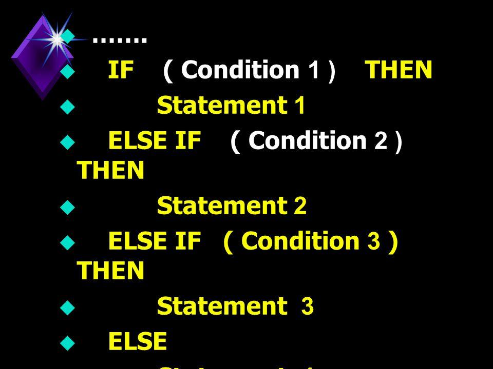 u cond 1 Yes cond 2 cond 3 Yes No Statem ent 1 Statem ent 2 Statem ent 3 Statem ent 4 คำสั่ง Nested IF แสดงใน รูปผัง งาน (Flowchart) ได้ดังนี้ คำสั่ง Nested IF แสดงใน รูปผัง งาน (Flowchart) ได้ดังนี้