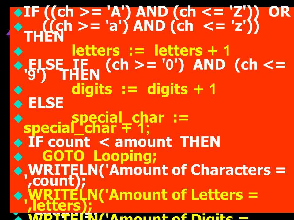 ตัวอย่ าง  ให้เขียนโปรแกรม เพื่อทำการอ่านค่า ใดๆ จากคีย์บอร์ดจำนวน 20 ตัวให้นับ จำนวนตัวอักษรภาษาอังกฤษ ตัวเลข และ ตัว Special Characters พร้อมทั้ง แสดงผลลัพท์ออกทางจอภาพ  PROGRAM Demo_Characters_count;  USES CRT;  LABEL Looping;  CONST amount = 20;  VARch : CHAR;  count, letters, digits, special_char : INTEGER;